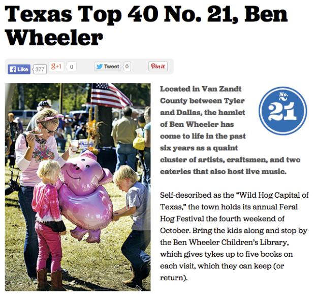 Ben Wheeler, Texas top 40 Texas Highways